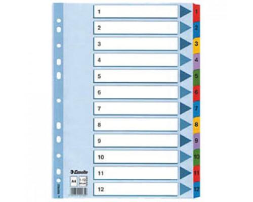 Разделитель листов А4+, картонный цифровой ESSELTE Maxi, 12 разделов, табуляторы с индексом