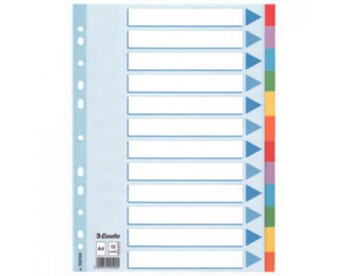 Разделитель листов А4, картонный цветной ESSELTE, 12 разделов, табуляторы без индексов