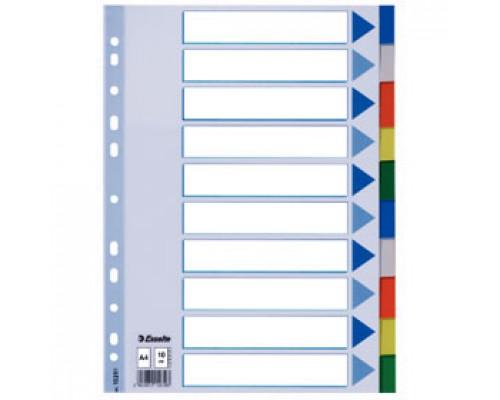 Разделитель листов А4, пластиковый цветной ESSELTE, 10 разделов, табуляторы без индексов