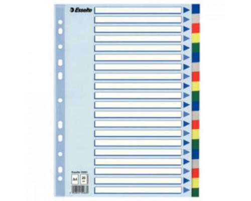 Разделитель листов А4, пластиковый цветной ESSELTE, 20 разделов, табуляторы без индексов