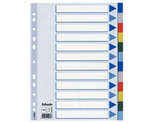Разделитель листов А4, пластиковый цветной ESSELTE, 12 разделов, табуляторы без индексов