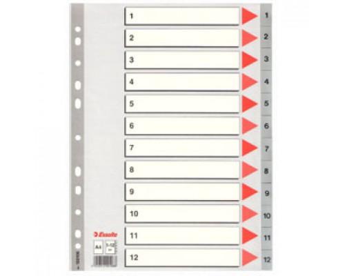 Разделитель листов А4, пластиковый цифровой ESSELTE, 12 разделов, серый