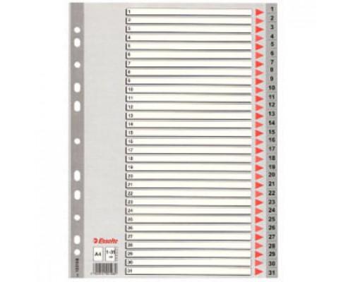 Разделитель листов А4, пластиковый цифровой ESSELTE, 31 раздел, серый