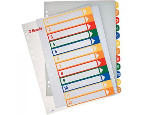 Разделитель листов А4, пластиковый цифровой ESSELTE, 12 разделов