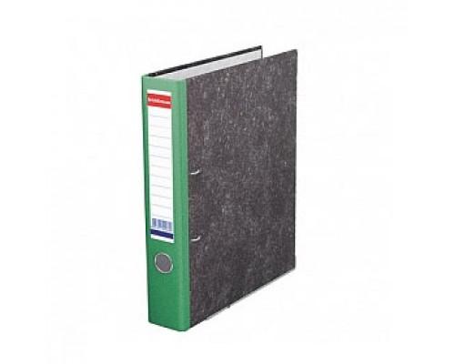 Папка-регистратор А4 ERICH KRAUSE, снаружи и изнутри картон, 50мм, мрамор, корешок зеленый