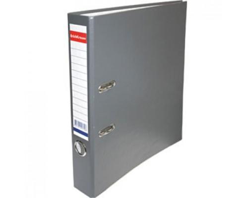Папка-регистратор А4 ERICH KRAUSE, снаружи полипропилен, изнутри бумага, 50мм, металлич. окантовка, серый