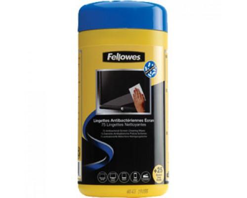 Салфетки для чистки экранов FELLOWES, антибактериальные, влажные, 100шт., диспенсер