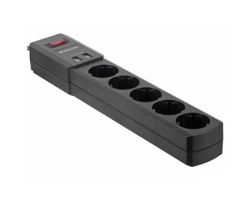 Сетевой фильтр Defender DFS 451(5/1,8м/10А/175Дж/черный/ 2 USB)