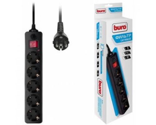 Сетевой фильтр 5 розеток, 3м 10А выключатель с индикатором, BURO, черный