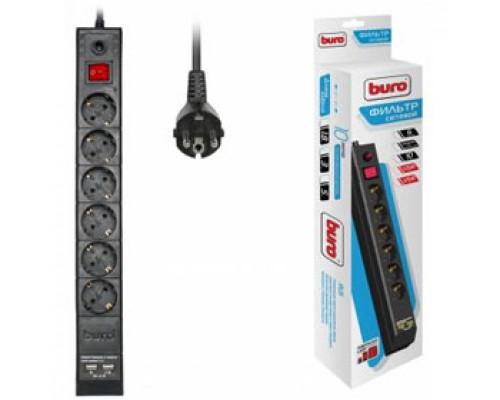 Сетевой фильтр 6 розеток, 3м 10А выключатель с индикатором, 2 USB, BURO, черный