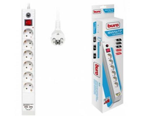 Сетевой фильтр 6 розеток, 1,8м 10А выключатель с индикатором, 2 USB, BURO, белый