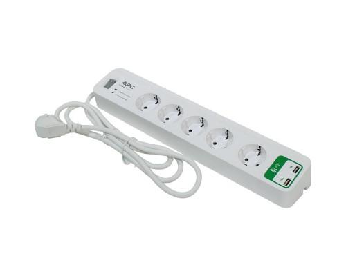 Сетевой фильтр APC PM5U-RS (5 евро/1,8м/10А/918Дж/USB/белый)
