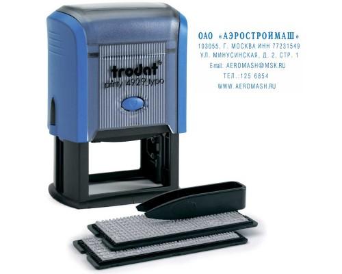 Штамп самонаборный TRODAT4929 TYPO, 6-ти строчный 50х30мм, 2 кассы