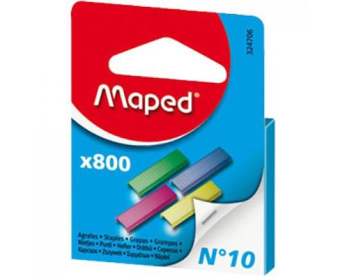 Скобы для степлера №10 MAPED, цветные, 800шт., ассорти