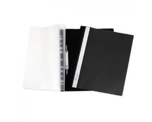 Папка-скоросшиватель пластиковый, с перфорацией, черный