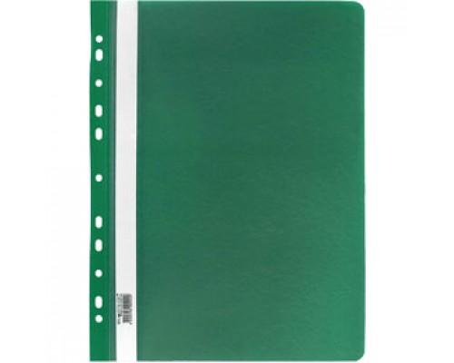 Папка-скоросшиватель пластиковый, с перфорацией, зелёный