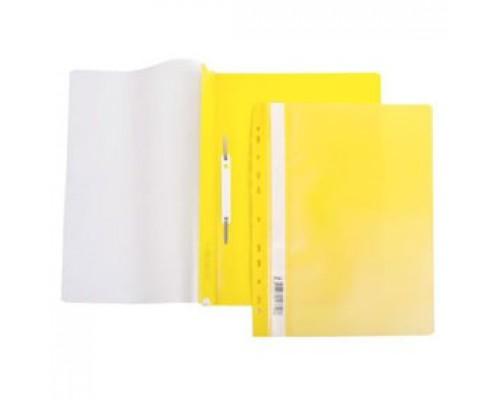 Папка-скоросшиватель пластиковый, с перфорацией, желтый