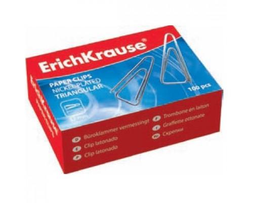 Скрепки 32мм ERICH KRAUSE, 100шт., треугольные, никелированные