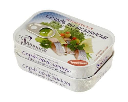 Сельдь Раптика в винном соусе филе-кусочки 115 г (2 штуки в упаковке)