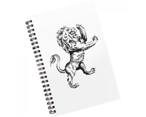 Тетрадь А5 80л, клетка, ламинир. картон, спираль, AVANTRE Black Lions, белый