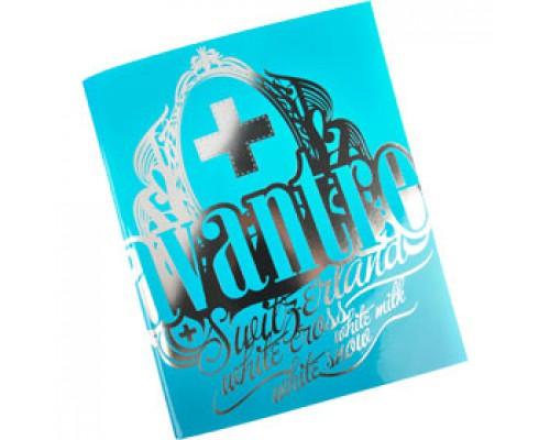 Тетрадь А5 48л, клетка, ламинир. картон, скоба, AVANTRE White Cross Logo, морская волна