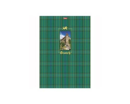 Тетрадь А4 80л, клетка, выборочный матовый лак картон, твердая подложка, спираль, HATBER Шотландка