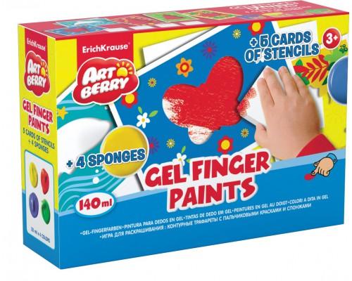 Игра для раскрашивания Artberry/пальчиковые краски (4 бан /35) +5траф+ 4 спонжа (карт/короб), ассорти