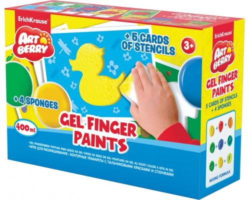 Игра для раскрашивания Artberry/пальчиковые краски (4 бан /100) +5 траф+ 4 спонжа (карт/короб), ассорти