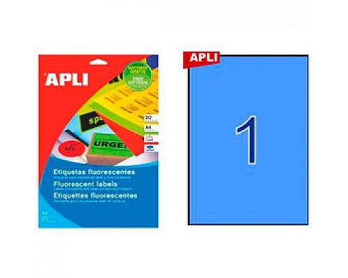 Этикетки самоклеящиеся 210х297мм, APLI, 1шт., 20л., голубой