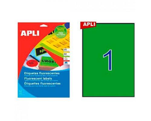 Этикетки самоклеящиеся 210х297мм, APLI, 1шт., 20л., зеленый