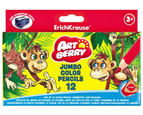 Цветные карандаши мини трехгранные ArtBerry Jumbo 12 цветов + точилка, ассорти