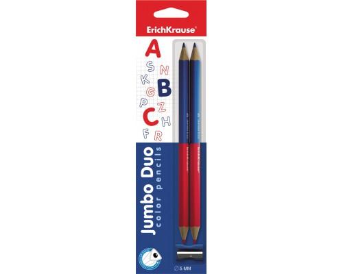 Двухцветные карандаши трехгранные Erichkrause Jumbo в блистере + точилка, ассорти