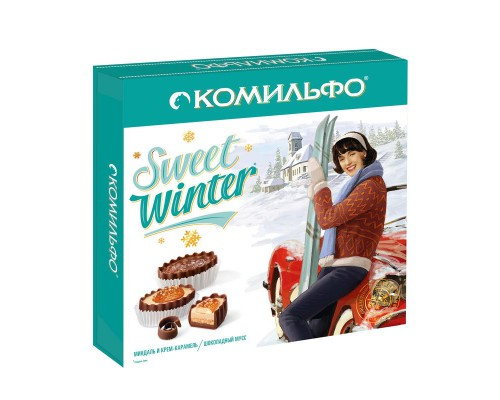 Комильфо Коллекция шоколадных конфет (набор) с двухслойной начинкой (миндаль и крем-карамель, шоколадный мусс).