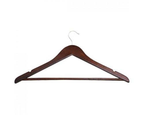 Вешалка-плечики деревянные 48-50 ш/п 4,5см., перекладина, выемки, вишня