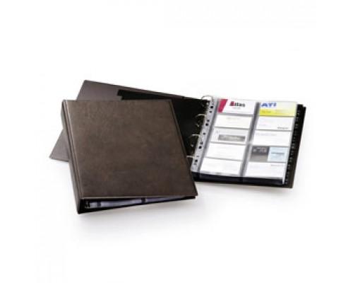 Визитница на 400 визиток DURABLE Visifix 2384-11, ПВХ, 4 кольца, коричневый