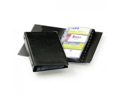 Визитница на 200 визиток DURABLE Visifix 2383-01, ПВХ, 4 кольца, черный