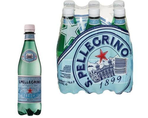 Вода минеральная San Pellegrino газированная 0.5 л (6 штук в упаковке)