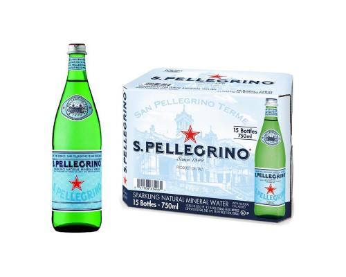 Вода минеральная S.Pellegrino газ. 0,75л(15 штук в упаковке)