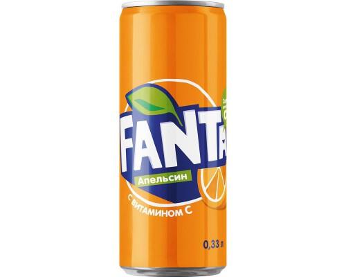 Напиток Fanta апельсин газированный 0.33 л (24 штуки в упаковке)