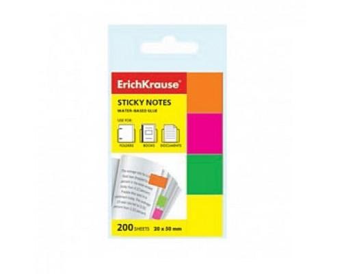 Закладки клейкие 20х50мм ERICH KRAUSE, 4цв.х 50шт, бумага, неон ассорти