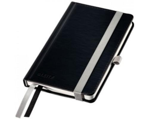 Записная книжка А6 80л, клетка, LEITZ Style, черная сталь